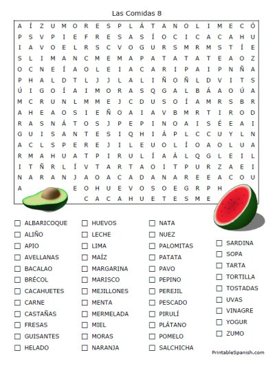 Spanish Food Vocabulary Worksheet Free Worksheets Library