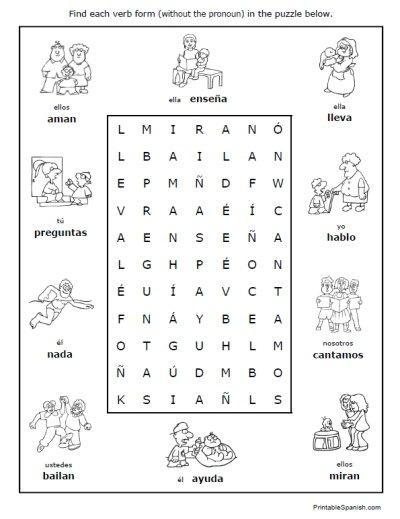 Spanish Regular Verbs 30 Page Worksheet Packet