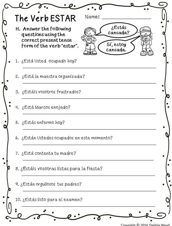 Spanish Verb Estar Posters And Worksheets Classroom Dcor Free