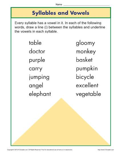 Syllable And Vowel Worksheet