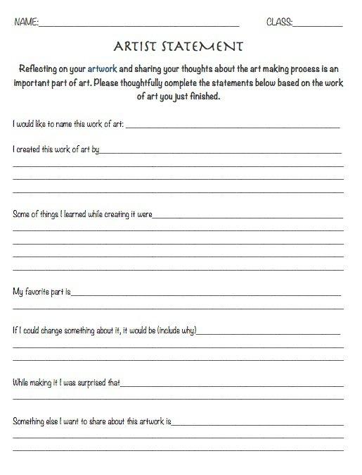 The Smartteacher Resource  Artist Statement Worksheet