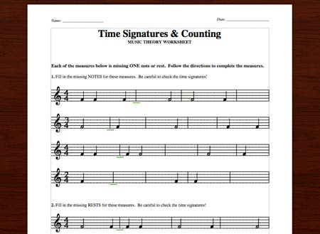 Time Signatures & Counting  Free Printable Theory Worksheets