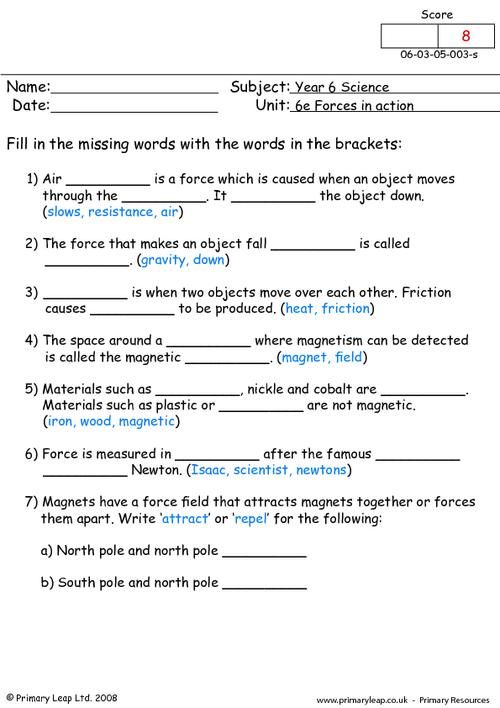 Types Of Forces Worksheet Free Worksheets Library