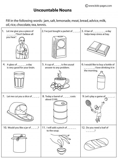 Uncountable Nouns B&w Worksheet