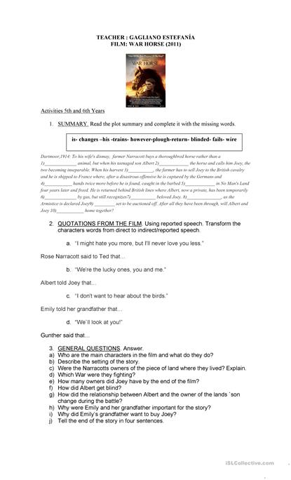 War Horse Film Worksheet