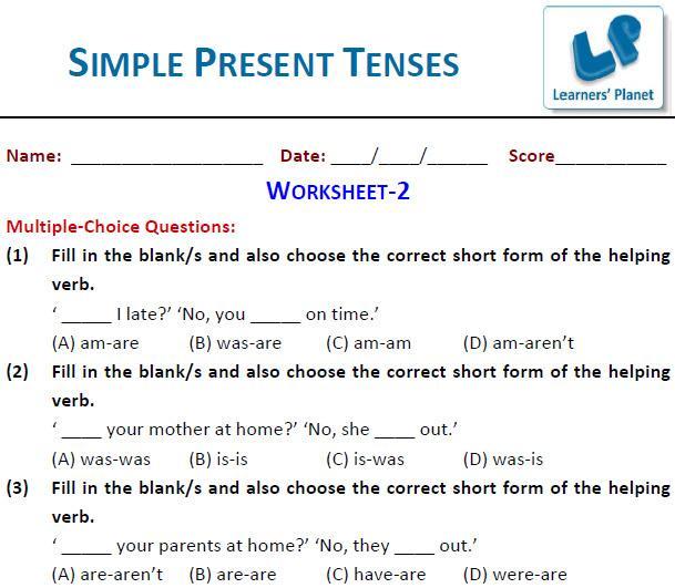 Worksheet Of English Grammar For Class 7