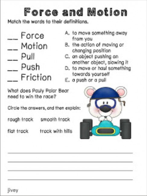 Worksheets On Force And Motion Free Worksheets Library