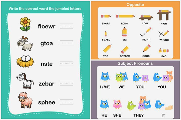 10 Free English Worksheets For Kids