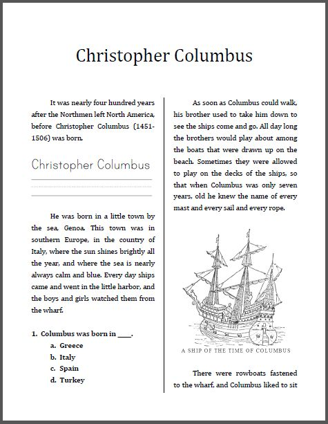 190 Best Activities For Columbus Day Images On Free Worksheets Samples