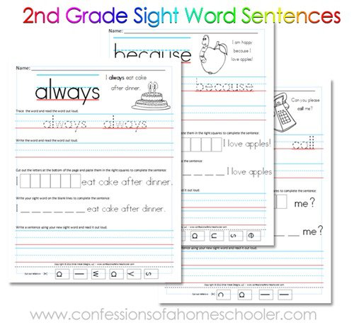 2nd Grade Sight Word Sentences