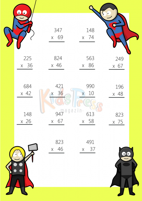 3 Digit By 2 Digit Multiplication Worksheet