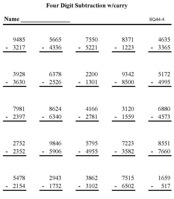 4 Digit Subtraction Worksheets Free Worksheets Library