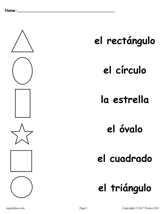 4 Free Preschool Spanish Shapes Matching Worksheets!