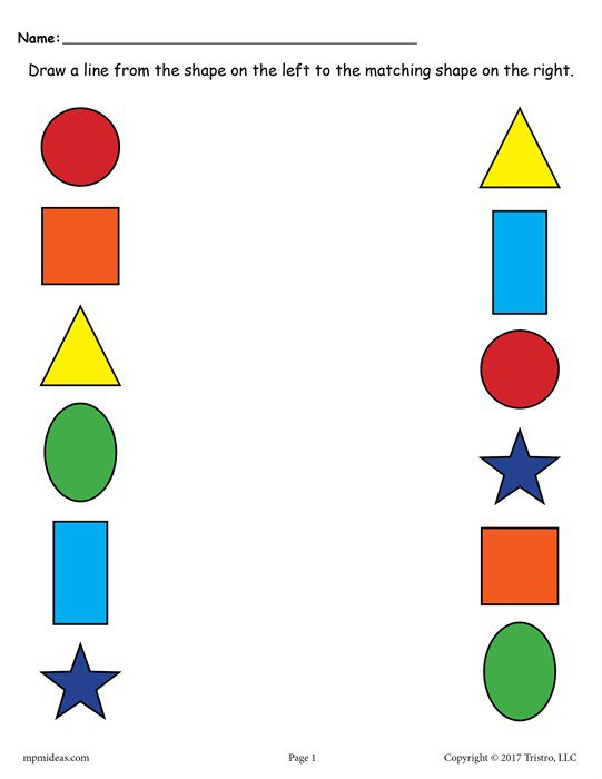 6 Free Shapes Matching Worksheets For Preschool & Toddlers!