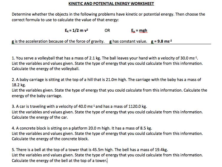 8 Physics Ek And Ep Wk3