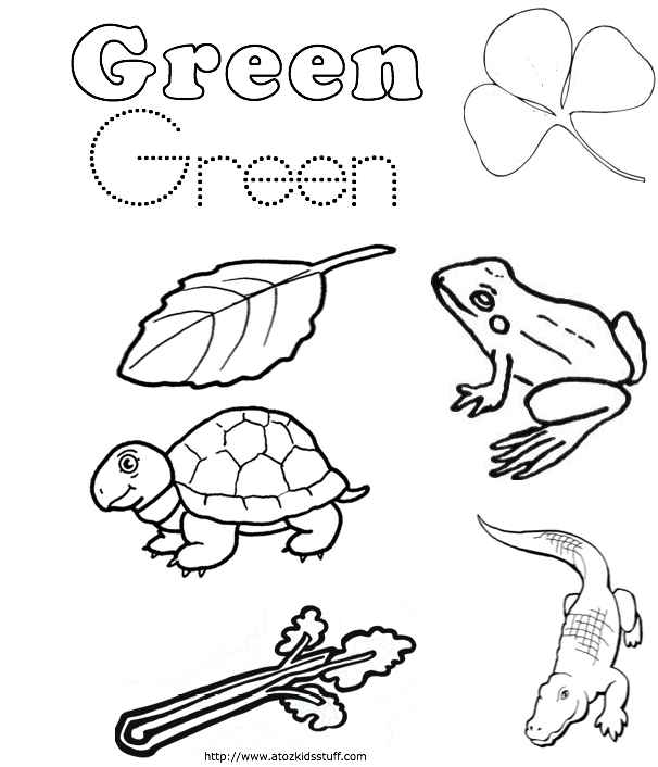 A To Z Kids Stuff Green Color Word Worksheet, Green Coloring Page