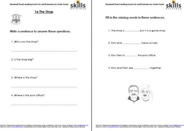 Activity Sheets For Readwell Road 1a The Shop