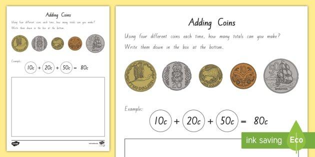 Adding New Zealand Coins Worksheet   Activity Sheets