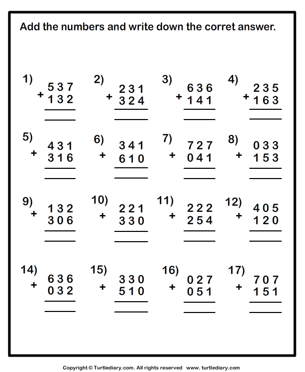 Adding Three Digit Numbers Within One Thousand Worksheet