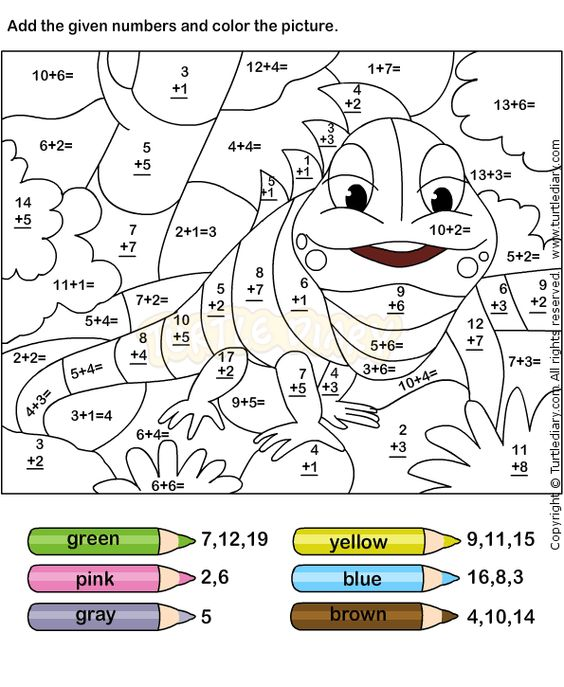 Addition Coloring Page Simple Color Worksheets Free Printables For