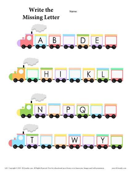 Alphabet Train Worksheet