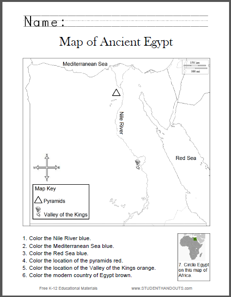 Ancient Egypt Map Worksheet For Kids