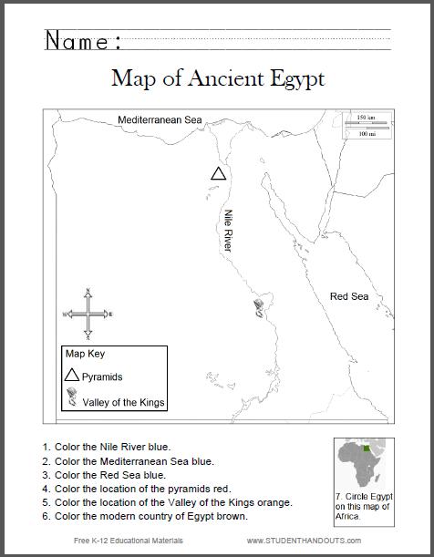 Ancient Egypt Map Worksheet For Kids
