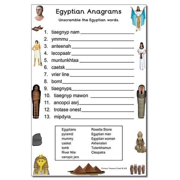 Ancient Egypt Themed Anagram Worksheet