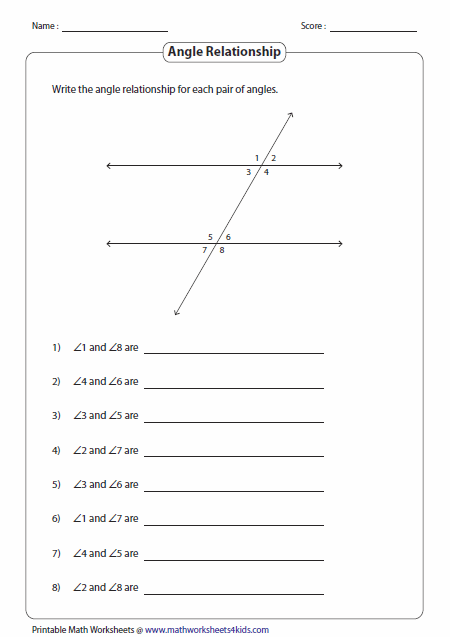 Angles Formed By A Transversal Worksheets