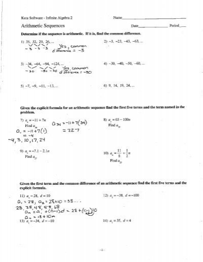 Arithmetic And Geometric Sequences Worksheet Arithmetic Sequences