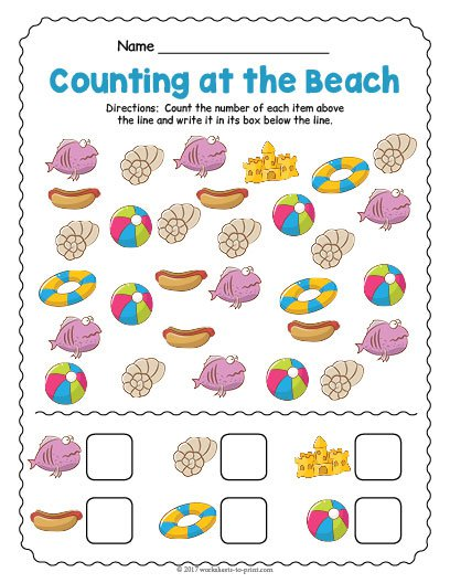 At The Beach Counting Worksheet
