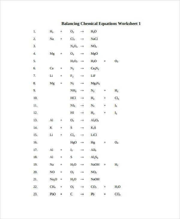 Balancing Equation Worksheet Free Worksheets Library