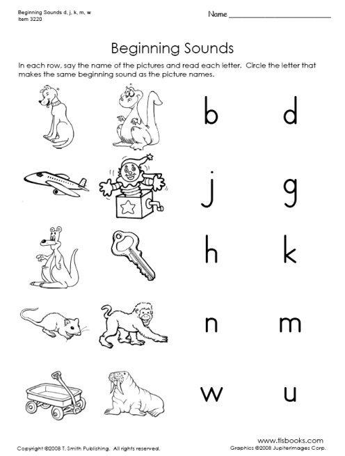 Beginning Sounds Of D, J, K, M, W