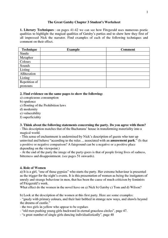 Best 25+ The Great Gatsby Analysis Ideas On Free Worksheets Samples