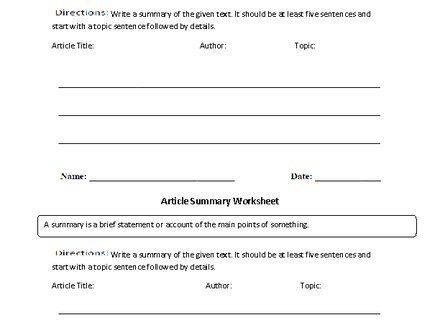 Best Photos Of News Article Summary Worksheet Newspaper, Summary