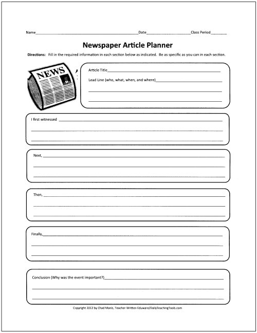 Best Photos Of Newspaper Article Outline Worksheet