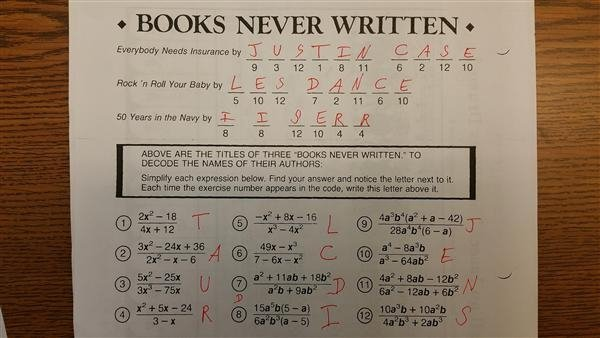 Books Never Written Math Worksheet Answers Intelligence  Books