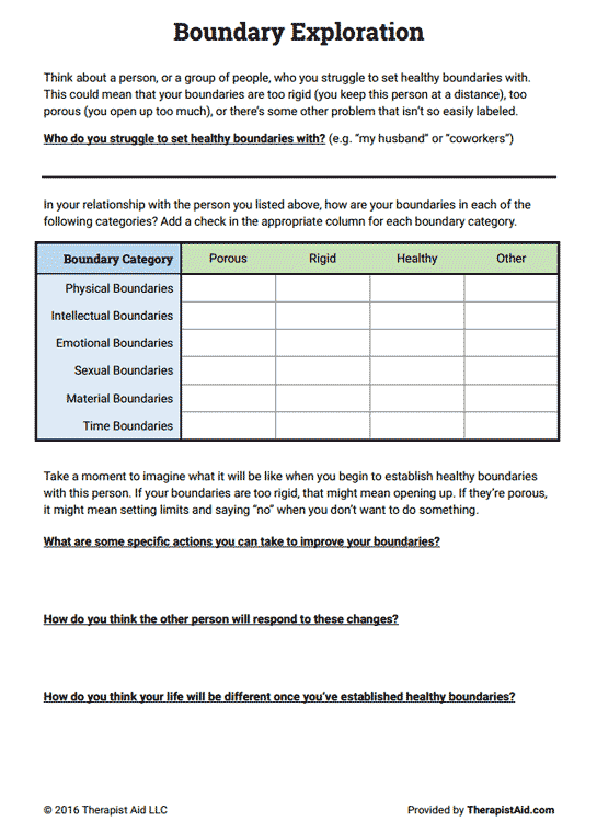 Boundaries Exploration (worksheet)