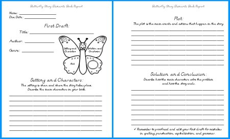 Butterfly Book Report Projects  Templates, Worksheets, Rubric, And