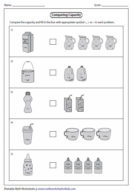 Capacity Worksheets