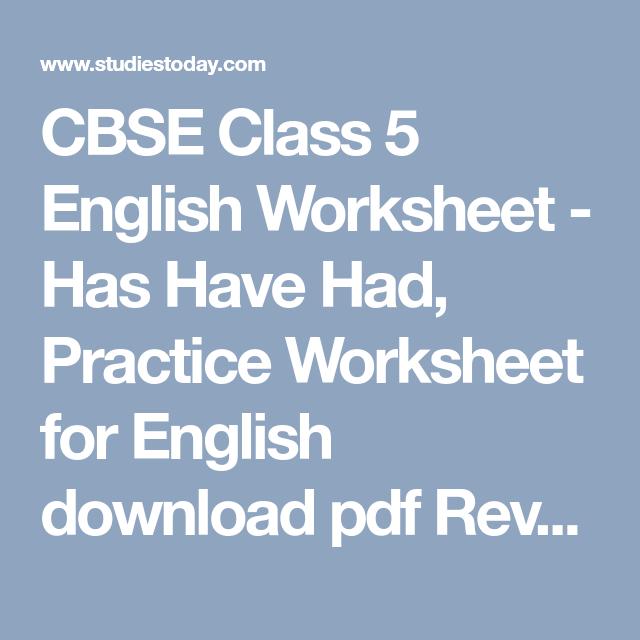 Cbse Class 5 English Worksheet