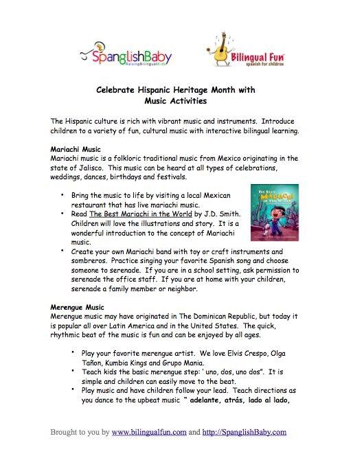 Celebrate Hispanic Heritage Month {printable Activity Sheet