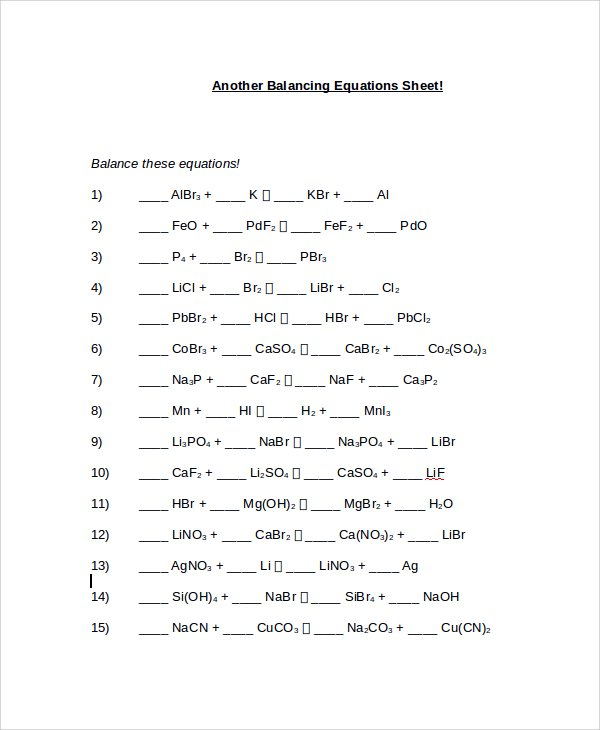 Chemfiesta Balancing Equations Worksheet Free Worksheets Library