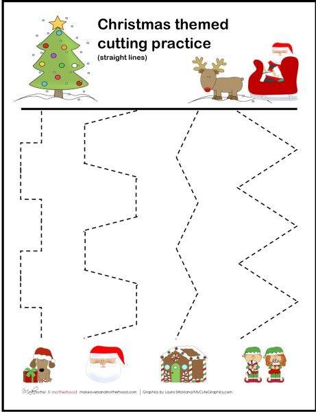 Christmas Cutting Practice Printable; Www Makeoversandmotherhood