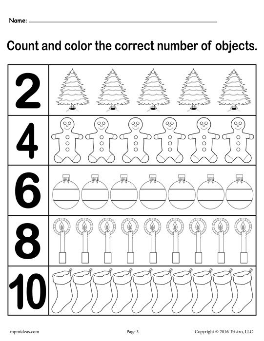 Christmas Themed  Count And Color  Worksheets (3 Free Printable