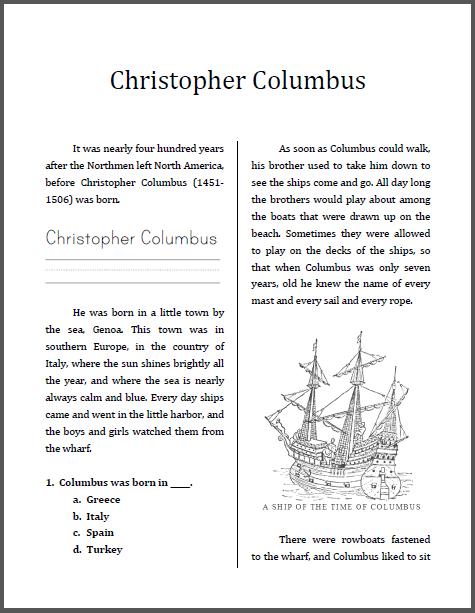 Christopher Columbus Workbook For Grades 1