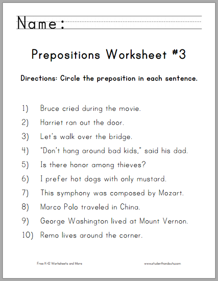 Circle The Prepositions Worksheet  3