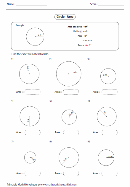 Circumference And Area Of Circles Worksheet Free Worksheets