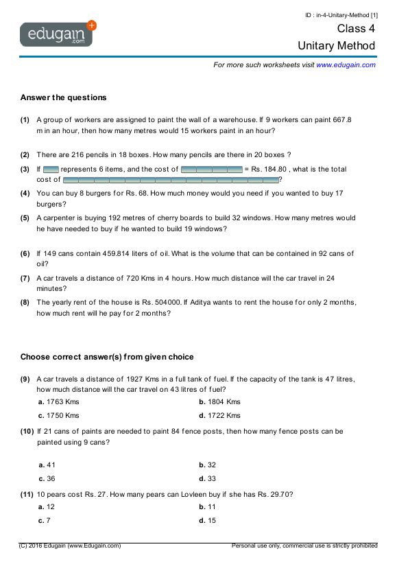 Class 4 Math Worksheets And Problems  Unitary Method
