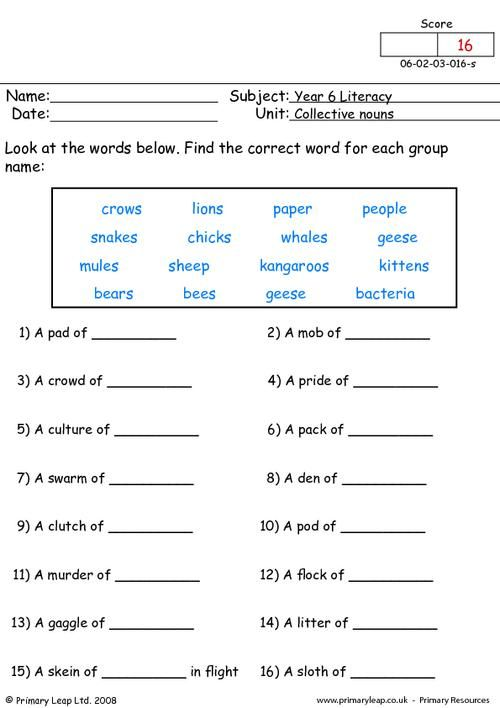 Collective Nouns Worksheets For Grade 2 Free Worksheets Library